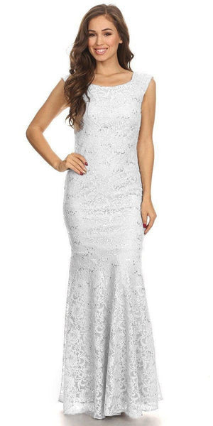 Sleeveless Lace Sequins Fit and Flare Evening Gown White Floor Length