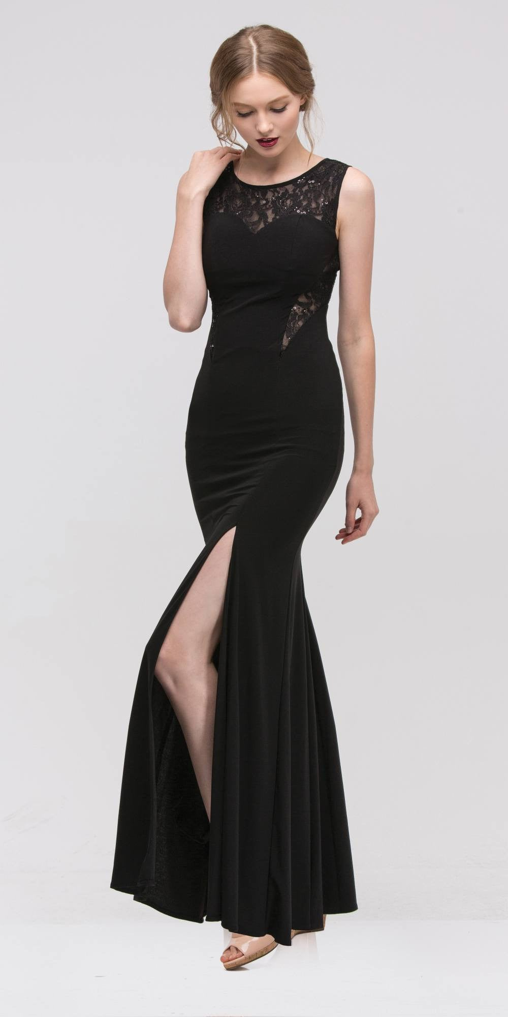 Round Neckline Black Evening Gown with Lace Accent and Slit