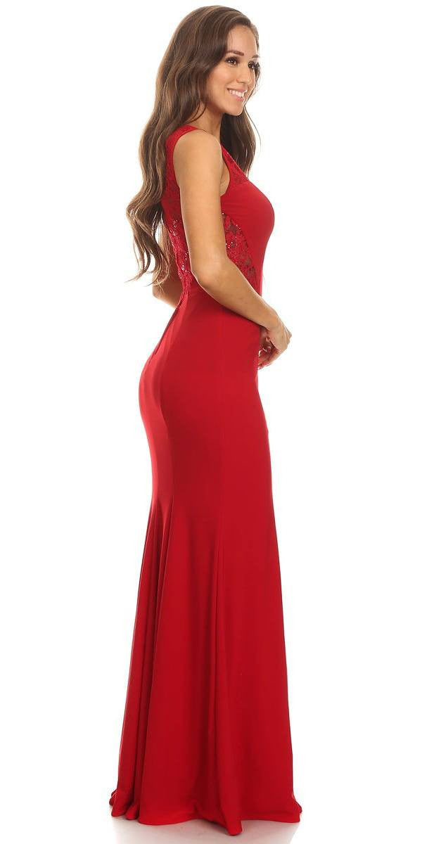 Round Neckline Red Evening Gown with Lace Accent and Slit