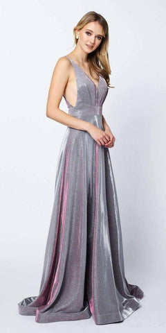 Metallic Pleated Long Prom Dress with Slit Emerald Green