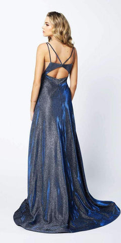 Cut-Out Strappy Back Glitter Long Prom Dress Navy Blue
