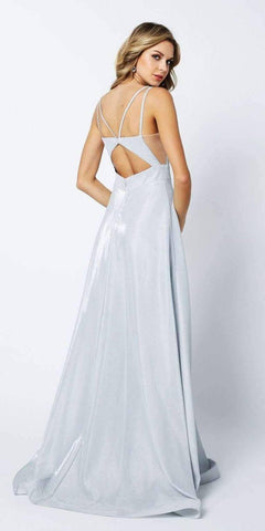 Cut-Out Strappy Back Glitter Long Prom Dress Silver