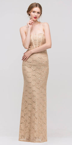 Charming Long Lace Gown Gold Sheath Mermaid Flare Strapless