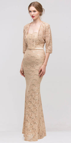 Long Lace Gown Gold Sheath Mermaid Flare Strapless Mid Sleeve Jacket