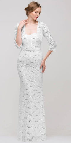 Long Lace Gown White Sheath Mermaid Flare Strapless Mid Sleeve Jacket