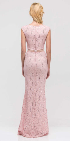 Mock Two-Piece Mermaid Prom Gown Lace with Sequins Blush Back