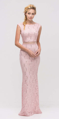 Mock Two-Piece Mermaid Prom Gown Lace with Sequins Blush