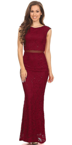 Mock Two-Piece Mermaid Prom Gown Lace with Sequins Burgundy
