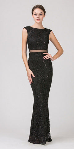 Mock Two-Piece Mermaid Prom Gown Lace with Sequins Black