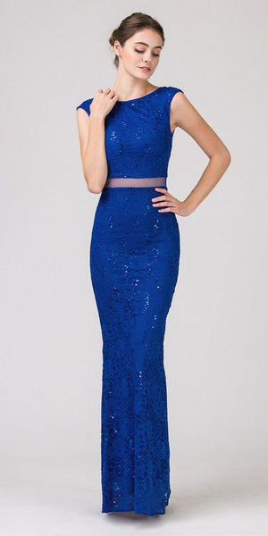 Mock Two-Piece Mermaid Prom Gown Lace with Sequins Royal Blue