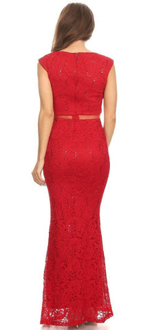 Mock Two-Piece Mermaid Prom Gown Lace with Sequins Red Back