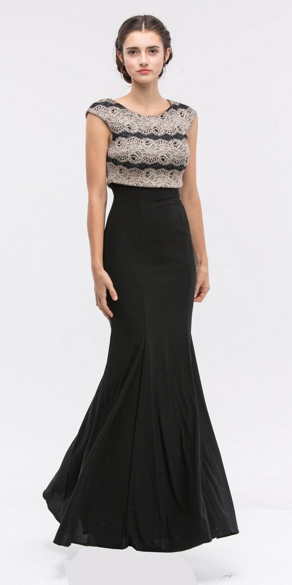 Sleeveless Black Jersey Fitted Prom Gown with Gold Lace Bodice