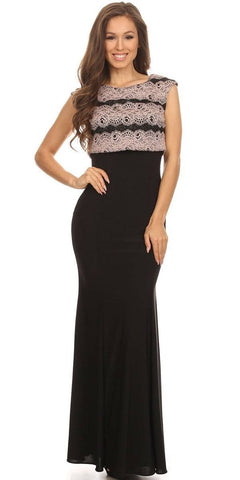 Sleeveless Black Jersey Fitted Prom Gown with Blush Lace Bodice