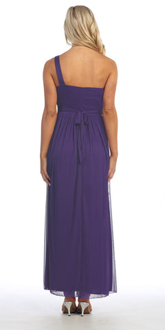 Long Purple One Shoulder Evening Gown Chiffon Empire Waist Rhinestone Back