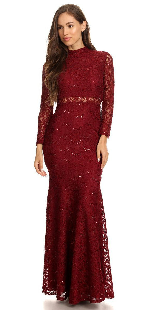 Long Sleeve Lace Full Length Dress Burgundy Mock 2 Piece High Neck