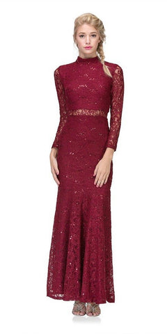 Eureka Fashion 2095 Long Sleeve Lace Full Length Dress Burgundy Mock 2 Piece High Neck
