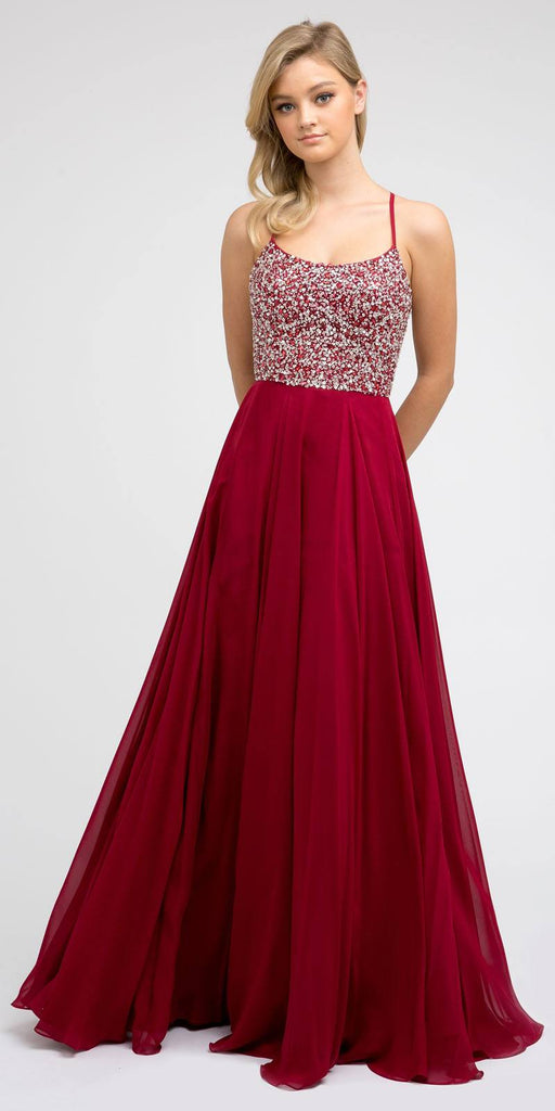 Juliet 210 Burgundy Long Beaded Prom A-Line Dress Strappy-Open-Back