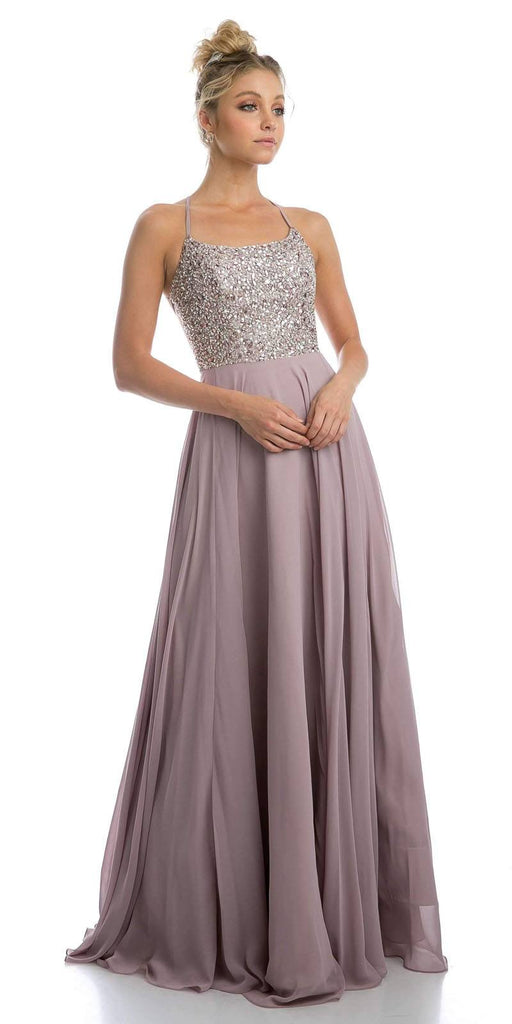 Mocha Long Beaded Prom Dress with Strappy-Open-Back