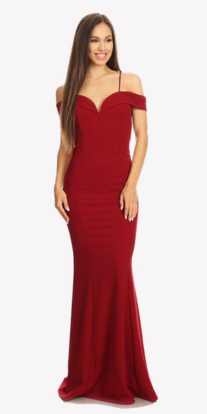 Burgundy Off Shoulder Mermaid Style Evening Gown with Sweetheart Neckline