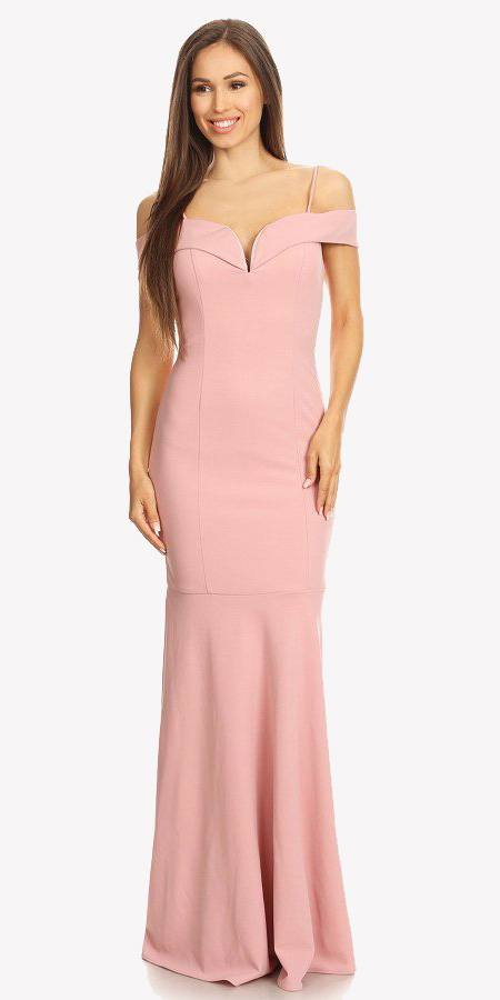 61b258369a03 ... Dusty Pink Off Shoulder Mermaid Style Evening Gown with Sweetheart  Neckline ...