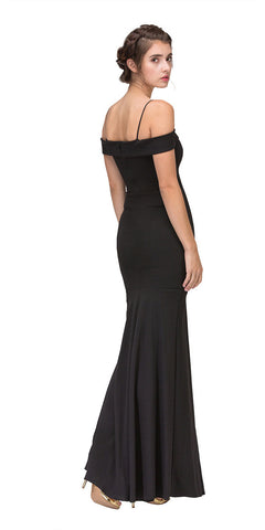 Black Off Shoulder Mermaid Style Evening Gown with Sweetheart Neckline Back View