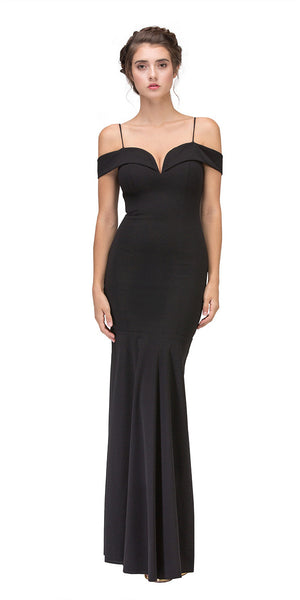 Black Off Shoulder Mermaid Style Evening Gown with Sweetheart Neckline