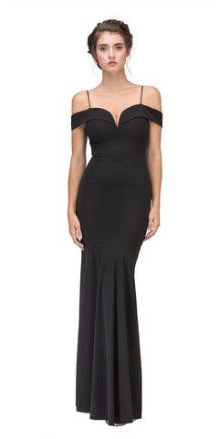 Ruched Bodice Side Gathered Sleeveless Black Long Dress