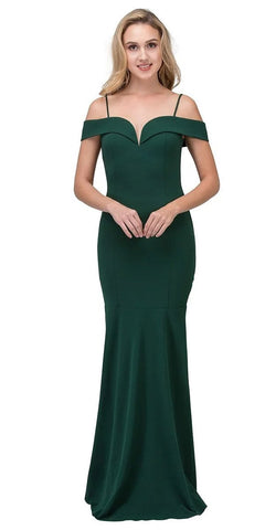 Eureka Fashion 2100 Hunter Green Off Shoulder Mermaid Style Evening Gown with Sweetheart Neckline