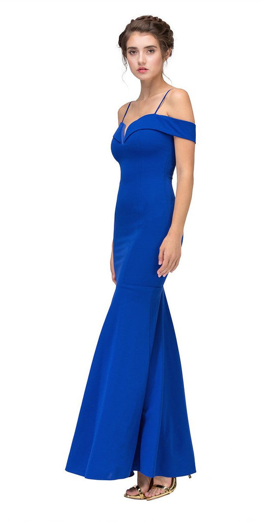 Eureka Fashion 2100 Royal Blue Off Shoulder Mermaid Style Evening Gown with Sweetheart Neckline