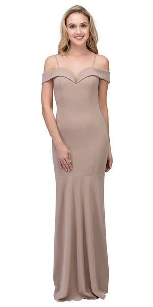 Eureka Fashion 2100 Taupe Off Shoulder Mermaid Style Evening Gown with Sweetheart Neckline