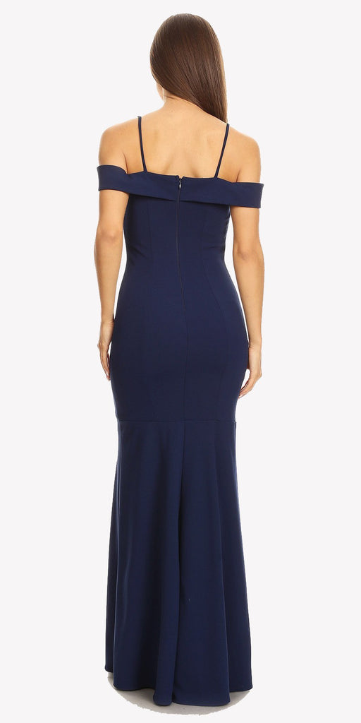 Navy Off Shoulder Mermaid Style Evening Gown with Sweetheart Neckline