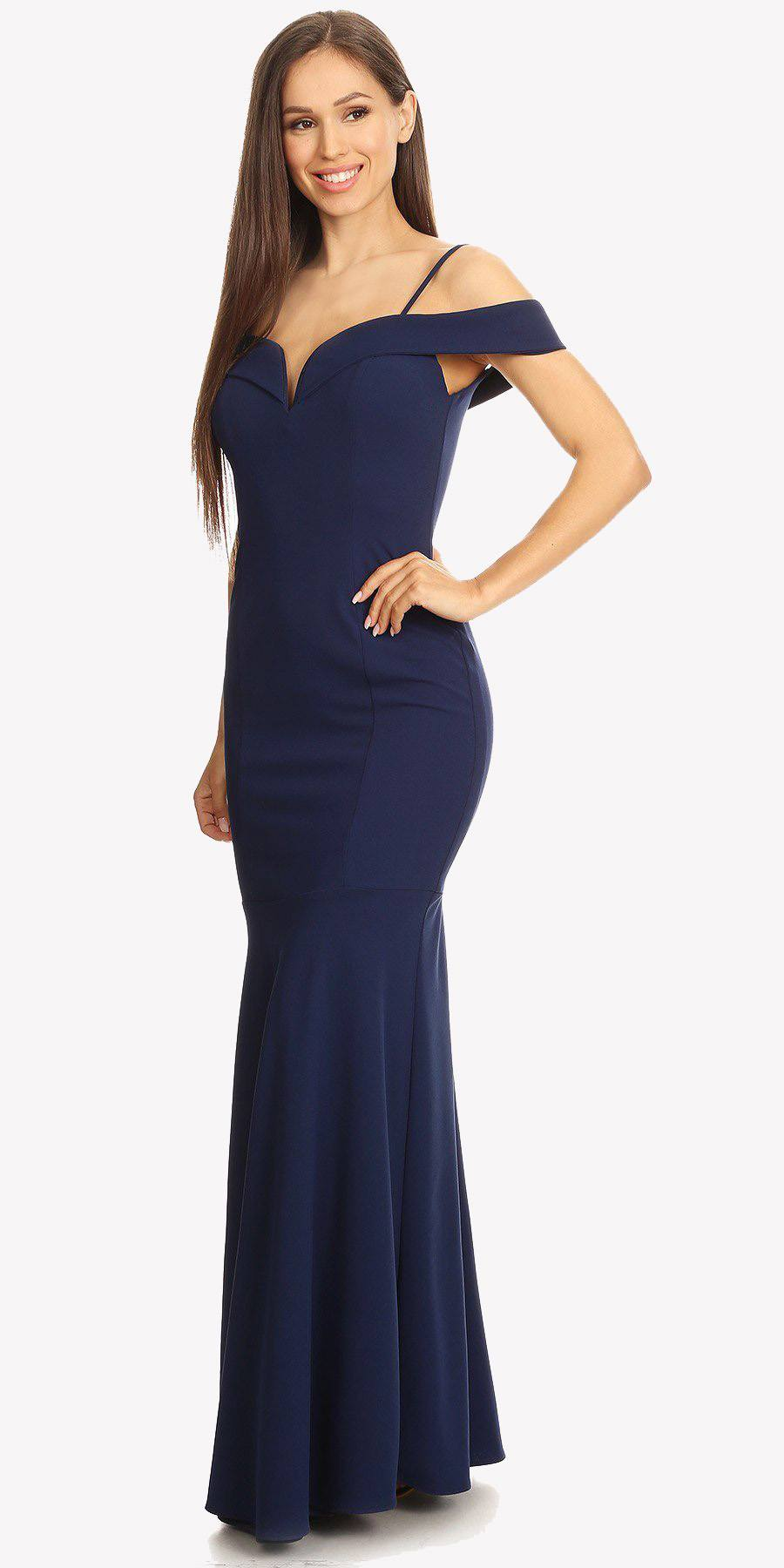 20c66ae4ff49 ... Navy Off Shoulder Mermaid Style Evening Gown with Sweetheart Neckline  ...