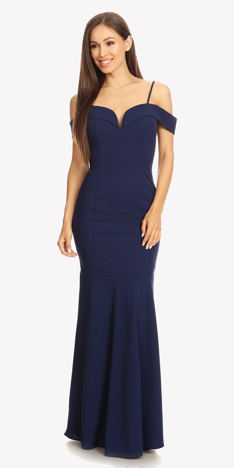 a6cce3fed313 ... Navy Off Shoulder Mermaid Style Evening Gown with Sweetheart Neckline  ...