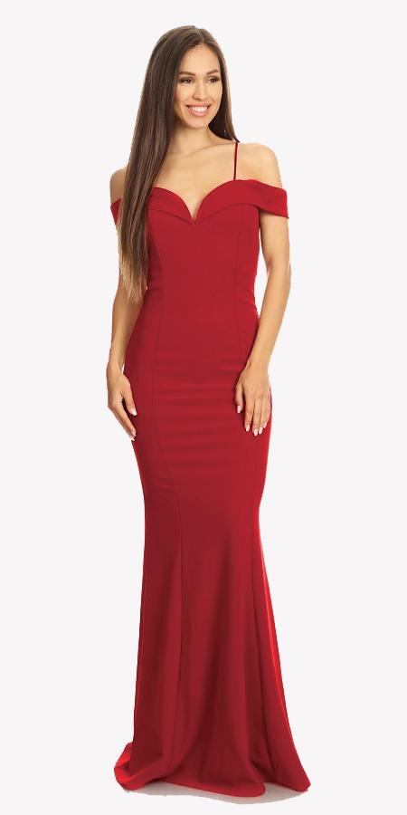 Red Off Shoulder Mermaid Style Evening Gown with Sweetheart Neckline