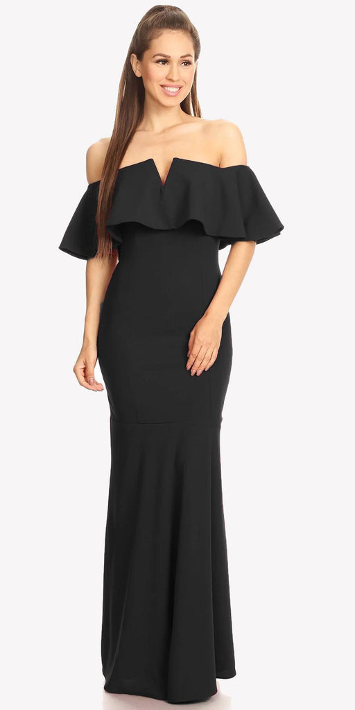 Long Formal Black Dress Off Shoulder with V-Notch Ruffled Bodice