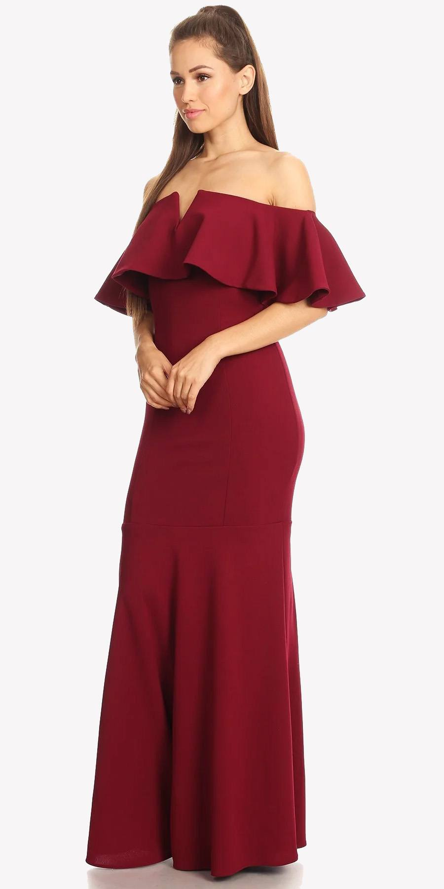 Long Formal Red Dress Off Shoulder With V Notch Ruffled Bodice