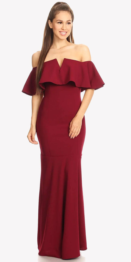 Long Formal Burgundy Dress Off Shoulder with V-Notch Ruffled Bodice