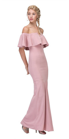 Eureka Fashion 2102 Long Formal Blush Dress Off Shoulder with V-Notch Ruffled Bodice