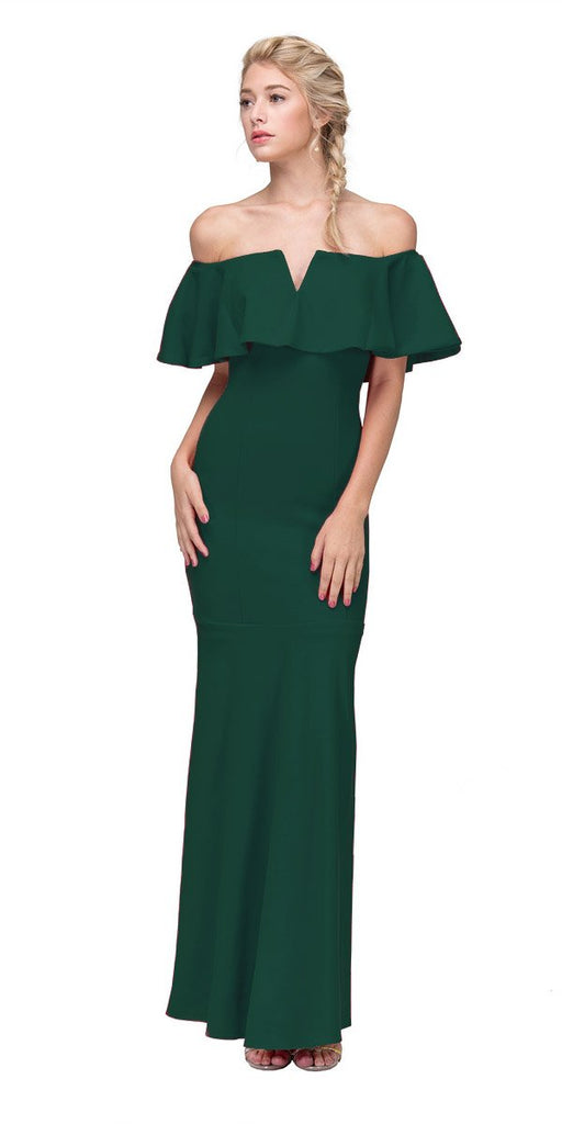 Eureka Fashion 2102 Long Formal Hunter Green Dress Off Shoulder with V-Notch Ruffled Bodice