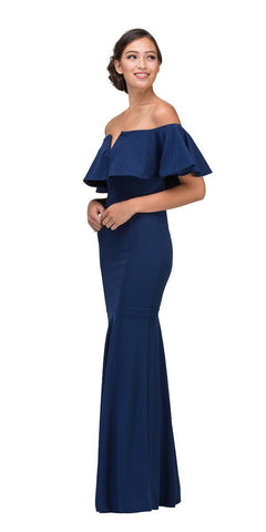 Eureka Fashion 2102 Long Formal Navy Blue Dress Off Shoulder with V-Notch Ruffled Bodice Side View