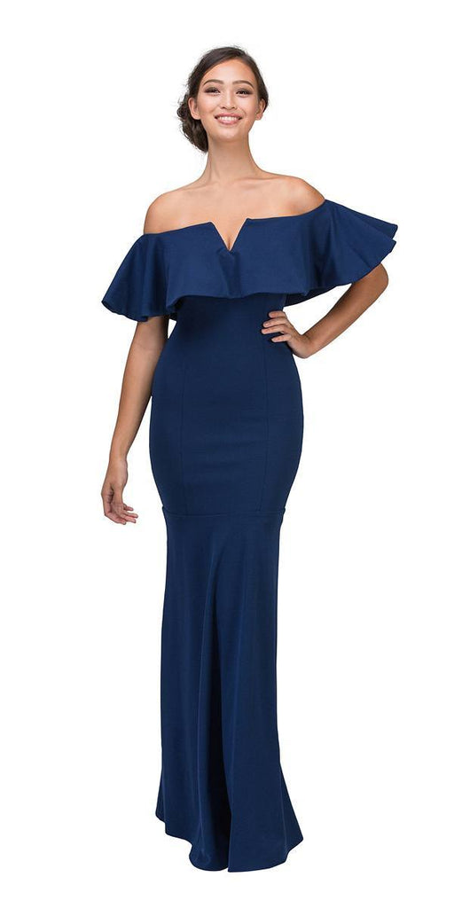 Eureka Fashion 2102 Long Formal Navy Blue Dress Off Shoulder with V-Notch Ruffled Bodice