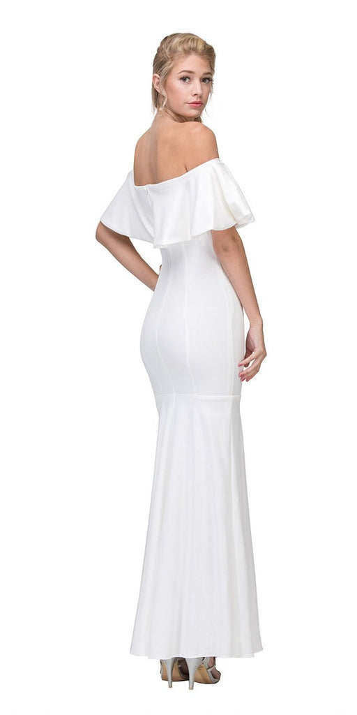 Eureka Fashion 2102 Long Formal Off White Dress Off Shoulder with V-Notch Ruffled Bodice Back View