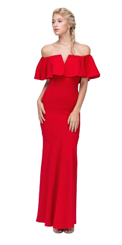 Eureka Fashion 2102 Long Formal Red Dress Off Shoulder with V-Notch Ruffled Bodice