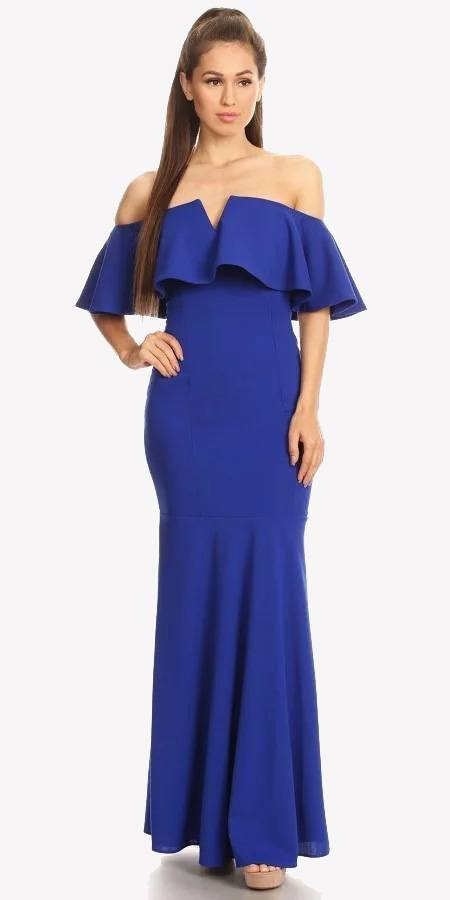 Long Formal Royal Blue Dress Off Shoulder with V-Notch Ruffled Bodice