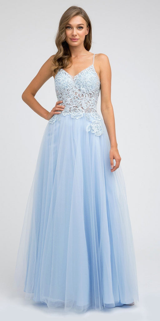 Juliet 212 Appliqued Long Prom Dress A-Line Spaghetti Straps Ice Blue
