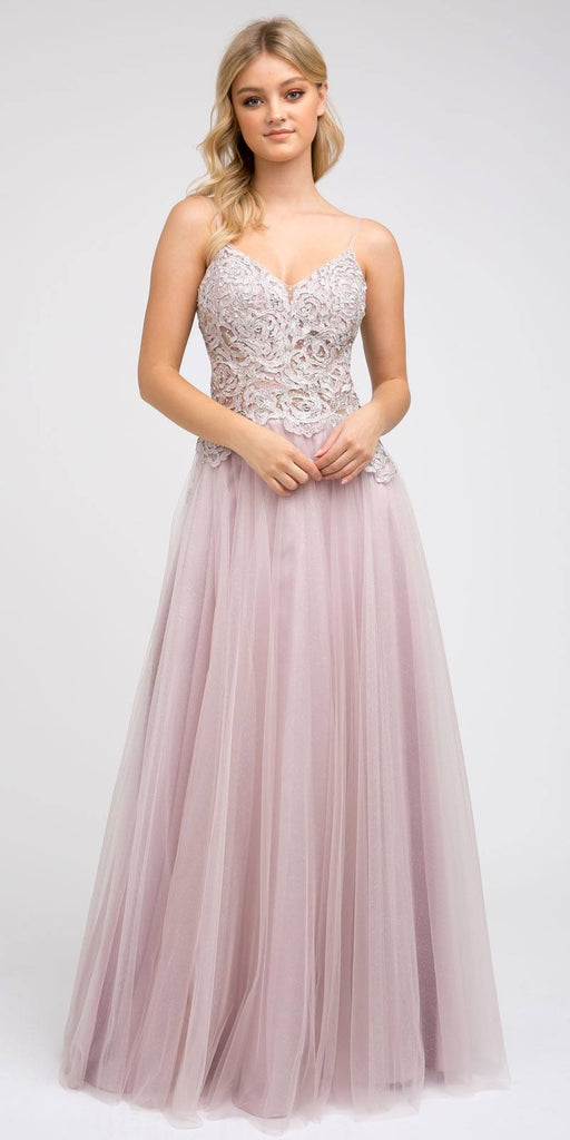 Juliet 212 Appliqued Long Prom Dress A-Line Spaghetti Straps Mauve