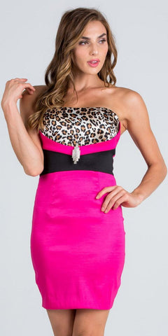 Fuchsia Strapless Leopard Print Bodice Short Cocktail Party Dress