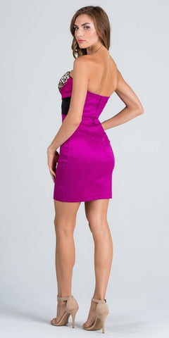 Magenta Strapless Leopard Print Bodice Short Cocktail Party Dress