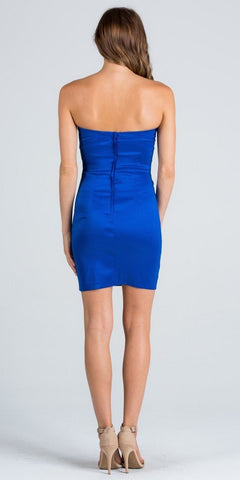 Royal Blue Strapless Leopard Print Bodice Short Cocktail Party Dress