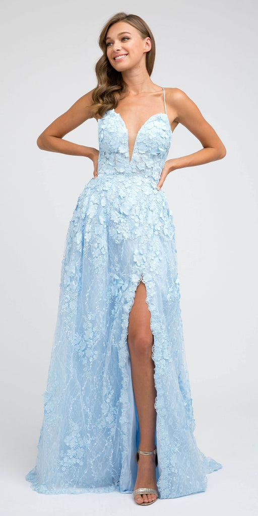 Juliet 216 Ice Blue Lace Flower Appliqued Long Prom Dress with Slit
